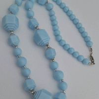 Vintage Light Blue Baby Blue Plastic Bead Necklace - Retro / Powder Blue / Classic