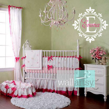 Name and Initial Vinyl Wall Decal Shabby Chic Damask Border Personalized Monogram Wall Decal Girl Baby Nursery Room Wall Art 22Hx22W FS343