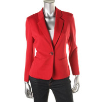 Elementz Womens Petites Solid Long Sleeves One-Button Blazer