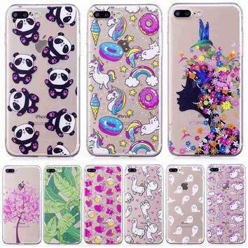 For Apple iPhone 7 Plus 8 Plus Case high Quality Soft Silicone cartoon bear deer flowers girl Painted phone cover shell caso