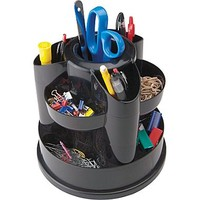 Staples® Black Plastic Rotating Desk Organizers