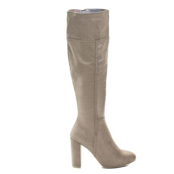 Miracle05s Taupe Vintage Knee High Pull-On Slouch Boots w Block Heel & Faux Fur Lining