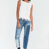 Silence + Noise Distressed Denim Fringe Tank Top - Urban Outfitters
