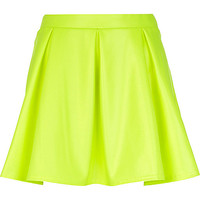 River Island Womens Bright yellow wet look skater skirt
