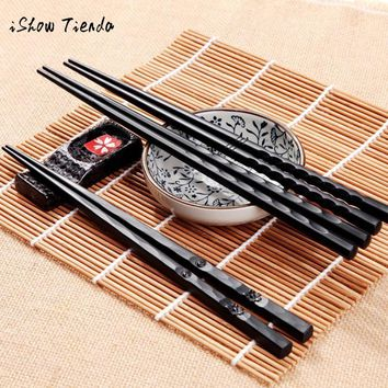 chopsticks 1 Pair Japanese Chopsticks Alloy Non-Slip Sushi Chop Sticks Set Chinese Gift palillos chinos chop sticks korean style