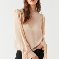UO Skylar Grace Mesh Tie-Cuff Top | Urban Outfitters