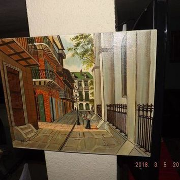 CREYDC0 Vintage Lou Bonnette New Orleans FRENCH QUARTER Oil Painting 20th c.