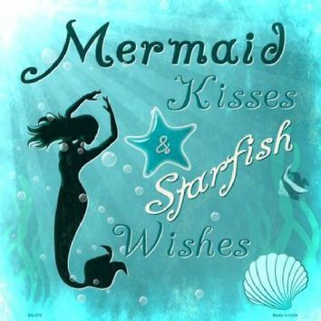 Mermaid Kisses Starfish Wishes 12 inch by 12 inch  Sign