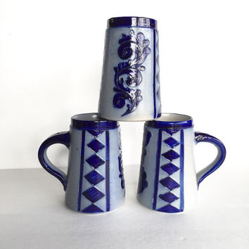 Vintage Handarbeit Salt Glazed Beer Steins Set of 3 Made in Germany