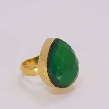 Artisan Crafted Ring, Green Onyx Ring, May Birthstone Ring, Simple Gemstone Ring, Dainty Ring, Big Statement Ring, Women Birthday Gift Ring