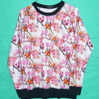 SweaterJumper Flowers birds leaf sweatshirt Pink longsleeve tshirt Love clothing Cold Color Gift Lover WInter Ladies Size M/l