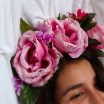 Pastel Rose Flower Crown- Rose Headband, Rose Floral Crown, Day of the Dead, Dia De Los Muertos, Flower Halo, Headdress