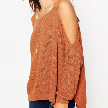 ASOS PETITE Chunky Jumper With Cold Shoulder and Split Sides