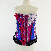 Purple butterflies corset size M / dance costume / rave wear / rave costume / gogo dancer