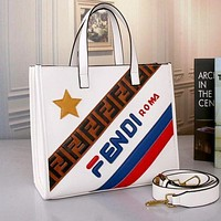 FENDI Women Fashion New Shopping Leather Handbag Tote Crossbody Shoulder Bag Satchel White