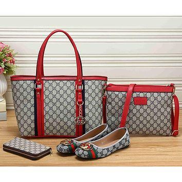 Gucci Women Leather Tote Satchel Crossbody Handbag Shoes Wallet Set Four Piece