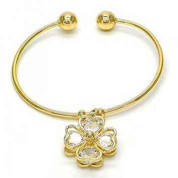 Gold Layered 07.63.0195 Individual Bangle, Heart Design, with White Cubic Zirconia, Polished Finish, Golden Tone (02 MM Thickness, One size fits all)