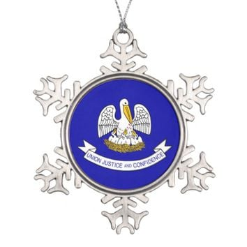 Snowflake Ornament with Lousiana Flag