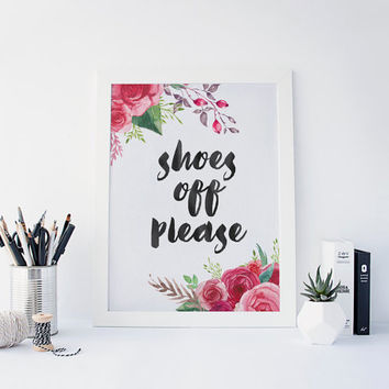 Shoes Off Please Poster, Chalkboard printable, Entrance, Hall, Lobby Aquarelle Flower Wreath, Inspirational Quote, Berries Berry, Watercolor