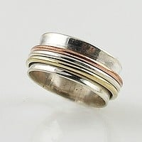 Spinner Ring - Three Tone High Shine Smooth Sterling Silver