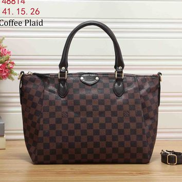 LV Louis Vuitton 2018 new women's bag shoulder portable Messenger bag F-KR-PJ coffee plaid