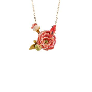 Les Néréides WINTER ROSES PEACH ROSE CARDINAL AND PANSY LONG NECKLACE