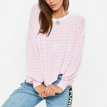 Missguided - Pink Striped Drop Shoulder Boxy Top