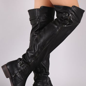 Buckled Zipper Trim Slouchy Riding Boots