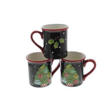 Sue Zulauf Christmas Cut Outs  Earthenware Holiday Coffee Mug