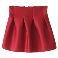 ROMWE | ROMWE Pleated Slim Red Skirt, The Latest Street Fashion