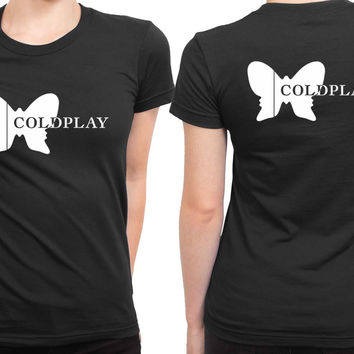 Coldplay Butterfly Logo 2 Sided Womens T Shirt