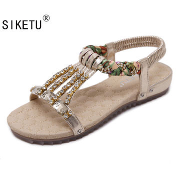 SIKETU Bohemian Beaded Sandals Large Size35-42 Diamond Summer Sandals Women's Flat Heel SandalsT-Strap Flip Flops Beach Shoes