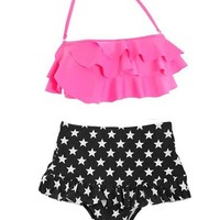 Cocoship Vintage High Waist Bikini Sets Hot Pink Top+polka Dots Bottom