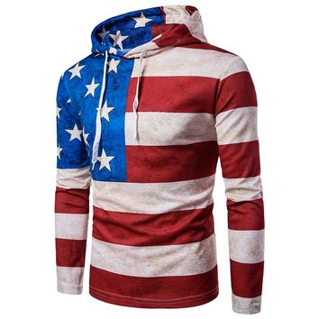 American Flag All Over Print Hoodies - Men's Novelty Hooded Tops