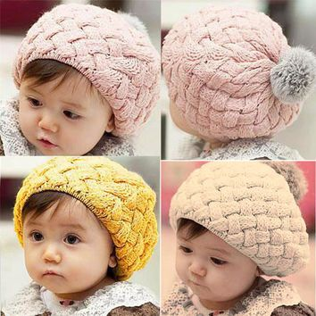 Baby Winter Hat Kids Baby Photo Props Beanie gorros bebes Crochet Toddler Cap Pompon Hats for Girl