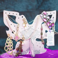 Butterfly Wooden Jewelry Display. Jewelry organizer // jewelry holder for necklaces, earrings, bracelets and other jewelry