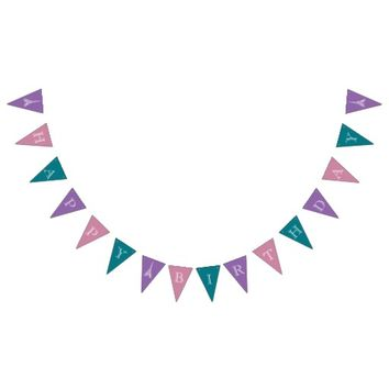 Happy Birthday Eiffel Purple Pink Teal Bunting Bunting Flags