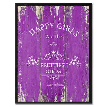 Happy Girls Are The Pretties Audrey Hepburn Saying Canvas Print, Black Picture Frame Home Decor Wall Art Gifts