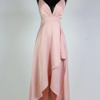 Satin Wrap Tie Back Sleeveless Maxi Dress/High Low Wrap Dress/Plunging Neckline Sleeveless Wrap Dress/Pink Dress/Black Dress ( + Colors )