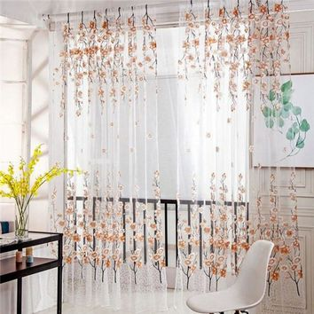 Summer Style Plum Flower Curtains for Living Room Window Curtain Tulle Sheer Curtains 200*100cm