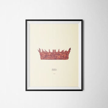 Game of Thrones Art Print, Crown Poster, Digital Download or Printed, 300dpi