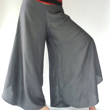 Lady gray soft wide leg style lady pants with elastic waistband