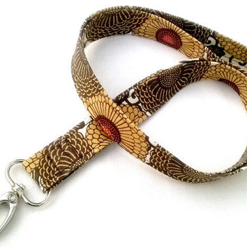 Golden Chrysanthemums Lanyard ID Badge Lanyard - Key Chain Lanyard Mums Gold Yellow Autumn Fall Brown