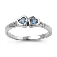Sterling Silver Baby Blue Topaz CZ Twin Heart Ring Size 1-5