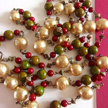 Red Green Bakelite & Faux Baroque Pearl Necklace, Brass Spacers, 56 inch Long, Vintage