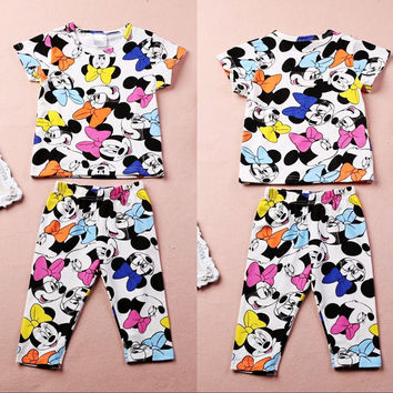 Mickey Mouse and Minnie Mouse Cute allover pj pajama childrens boys girls kids clothing 2 piece set Sleep over