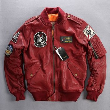 Factory 2016 Genuine Leather Jackets Men 100% Real Goat Skin Multi- labeling Embroidery O-Neck Collar Bomber Motorcycle Jackets