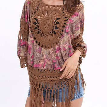 Streetstyle  Casual Fringe Crochet Hollow Out Tunic