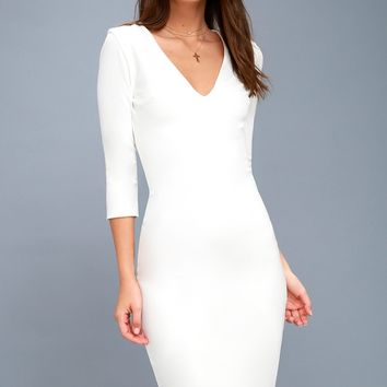 Style and Slay White Bodycon Midi Dress