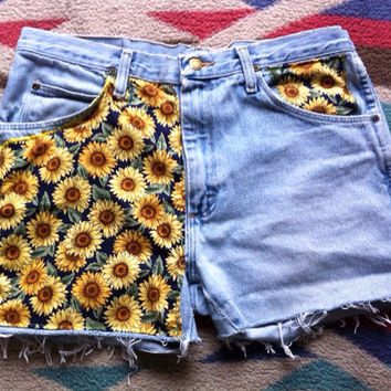 GIRASOL // Sunflower Print Fabric Shorts// Made to Order // Pick your Size